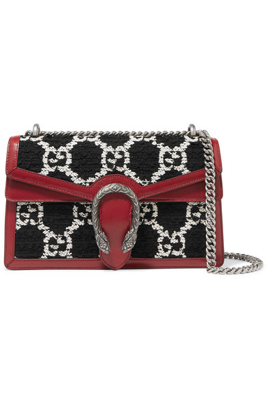 Gucci Dionysus Small Leather-trimmed Tweed Shoulder Bag