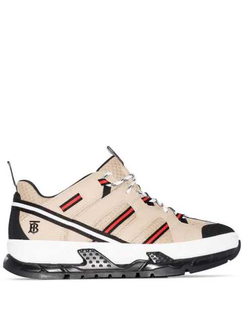 Burberry Men's Union Icon Stripe Mesh & Leather Sneakers In Beige