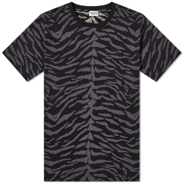 Saint Laurent Zebra-print Cotton-jersey T-shirt In 1003 Blkgry