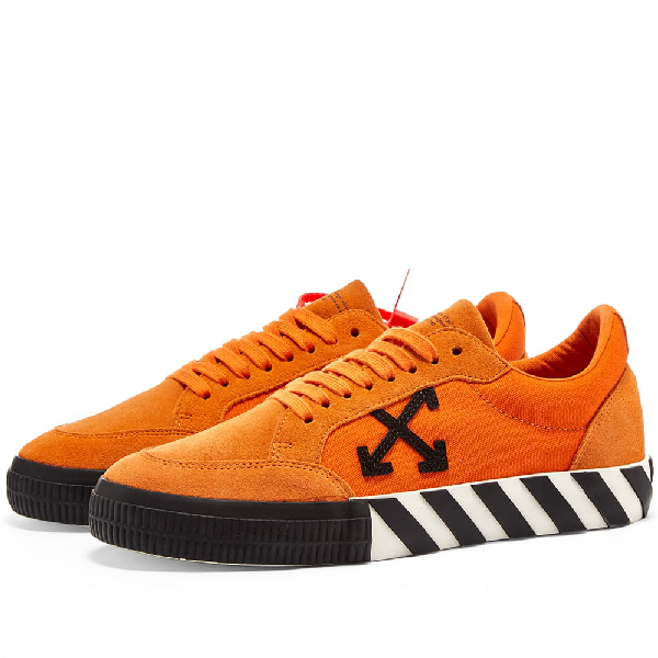 Off-White Men's Arrow Suede Sneakers With Stripes In 1910 Orgblk