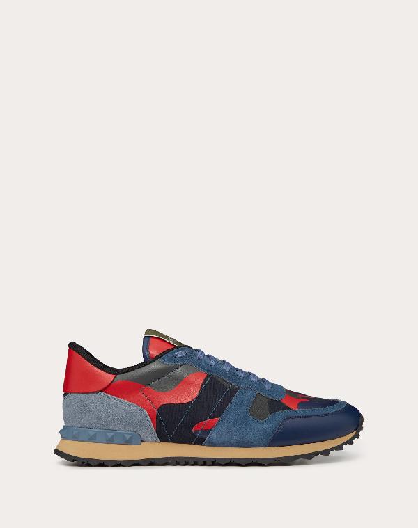 Valentino Garavani Garavani Rockrunner Camouflage-print Suede Sneakers In Blue