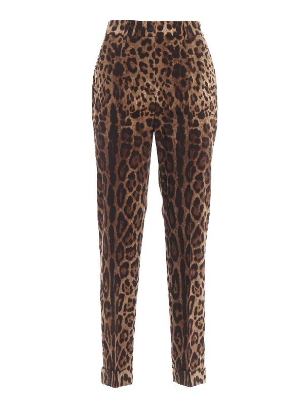 Dolce & Gabbana Leopard-print Wool-blend Straight-leg Pants In Brown