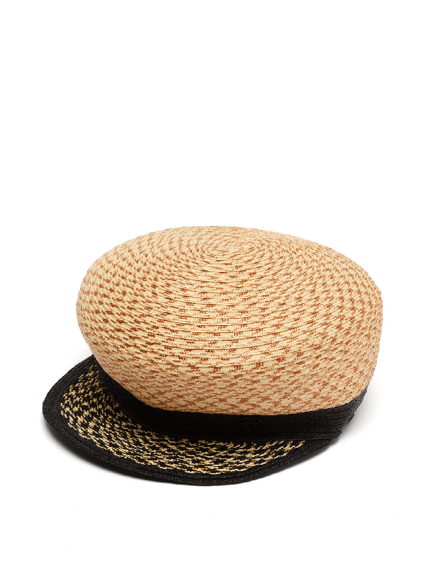 Maison Michel Abby Roped-straw Sailor Cap In Beige