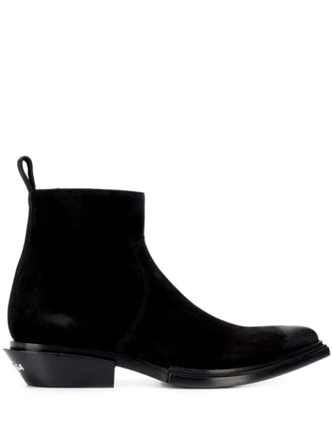 Balenciaga Santiag Suede Heeled Ankle Boots In 1000 Black