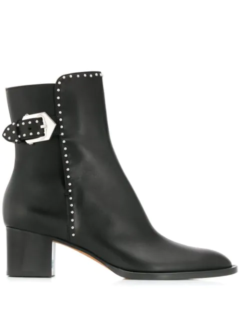 Givenchy Elegant Ank Boo High Heels Ankle Boots In Black Leather