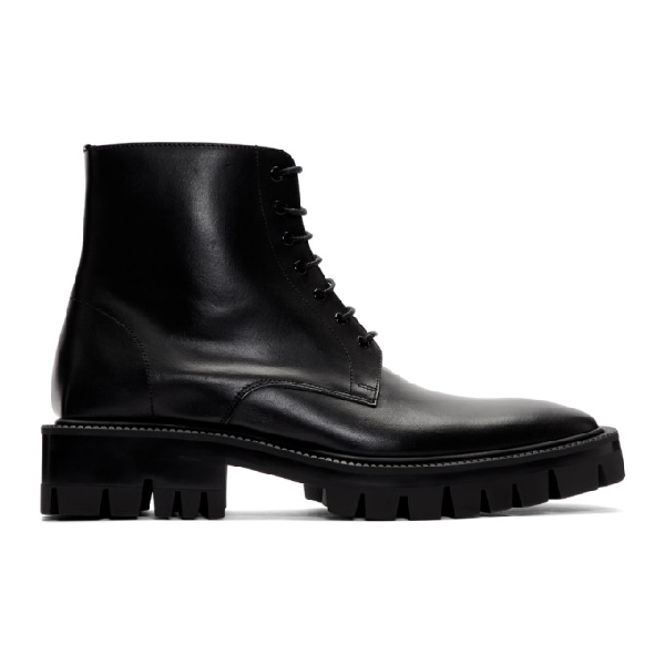 Balenciaga Strike Leather Platform Ankle Boots In 1000 Black