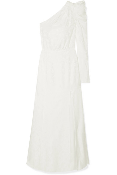 Les Rêveries One-shoulder Ruched Silk-jacquard Gown In Ivory