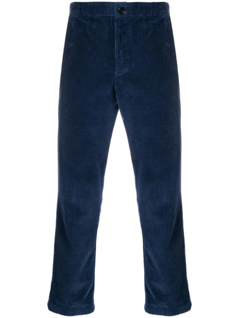 Thom Browne Navy Slim-fit Cropped Garment-dyed Cotton-corduroy Trousers In Blue