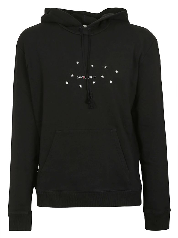 Saint Laurent Logo-print Loopback Cotton-jersey Hoodie In 1081 Blksil