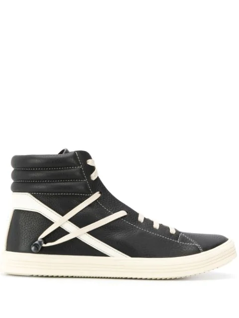 Rick Owens Geothrasher Two-Tone Full-Grain Leather High-Top Sneakers - Black In 911 Black