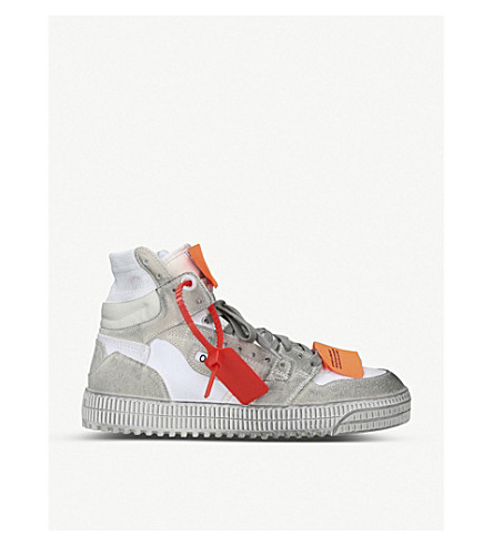 Off-White Off-Court 3.0 Distressed Suede, Leather And Canvas High-Top Sneakers In Gray