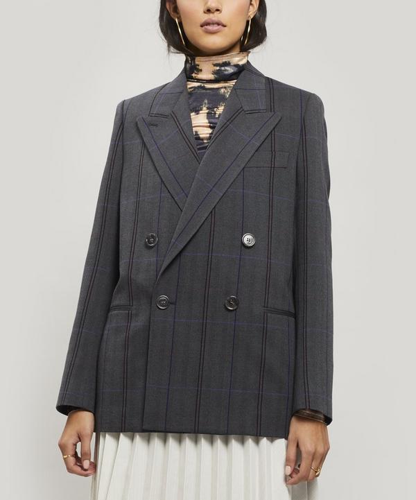 Acne Studios Check Plaid Wool-Cotton Herringbone Blazer In Grey/Purple
