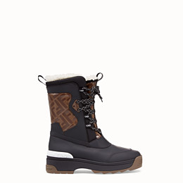 Fendi T-rex Shearling-lined Logo-print Coated Canvas And Leather Ankle Boots In F16zf Multi