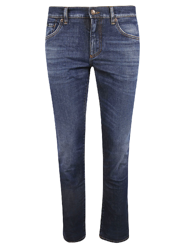 Dolce & Gabbana Slim Denim Stretch Jeans In Blu Medio