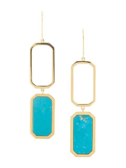 Julia Davidian Long Hexagon Earrings In Gold