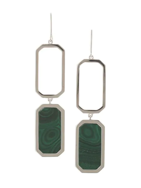 Julia Davidian Malachite Drop Earrings In Silver