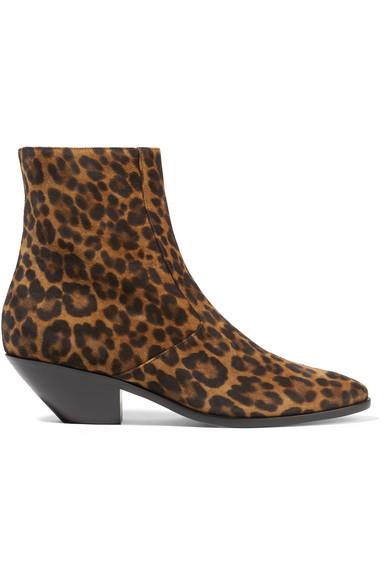 Saint Laurent West Leopard-Print Leather Ankle Boots In Leopard Print
