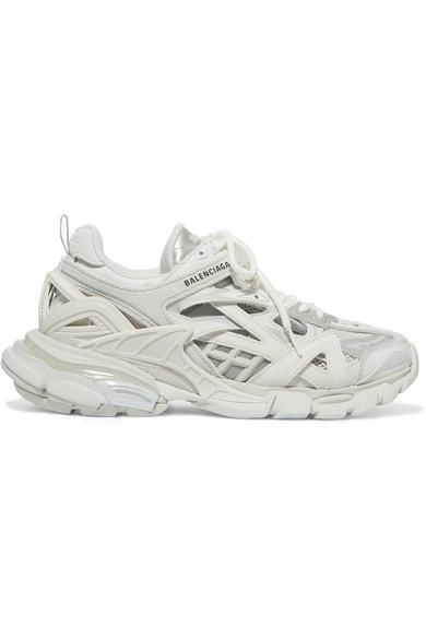Balenciaga Track 2 Logo-detailed Metallic Mesh And Rubber Sneakers In White