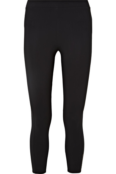 Moncler High-Rise Cropped Leggings In 999 Black