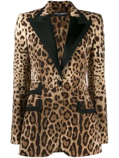 Dolce & Gabbana Satin-trimmed Leopard-print Wool-blend Blazer In Brown