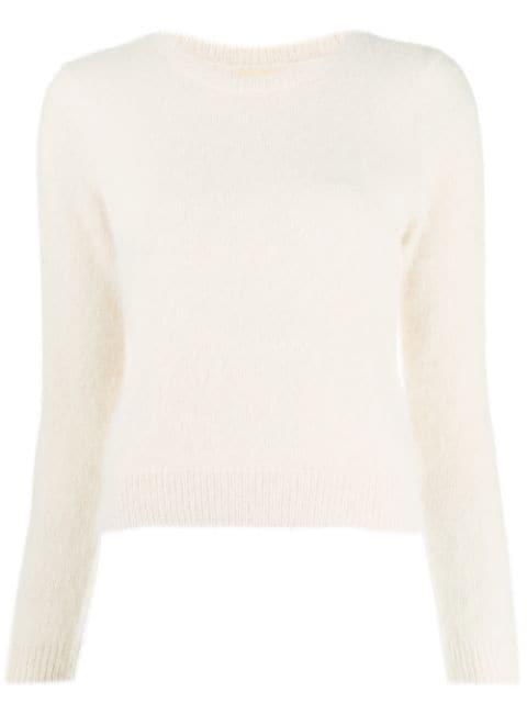 Bellerose Round Neck Fuzzy Knit Jumper In Neutrals