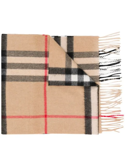 Burberry Heritage Check Cashmere Scarf In Nude