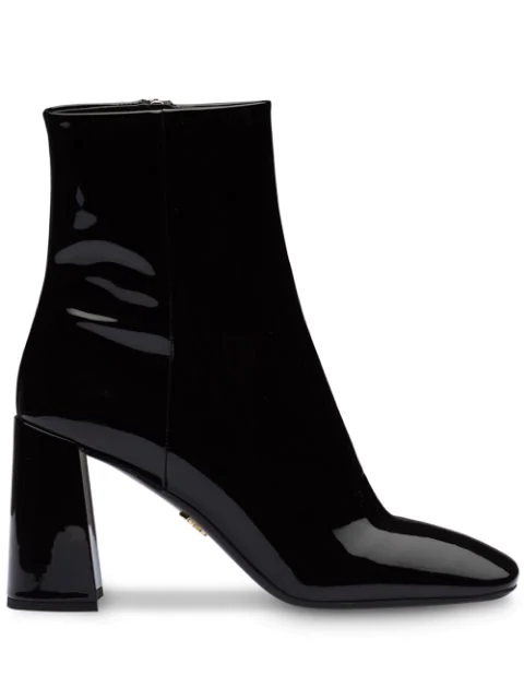 Prada Block Heel Patent Leather Bootie In Black