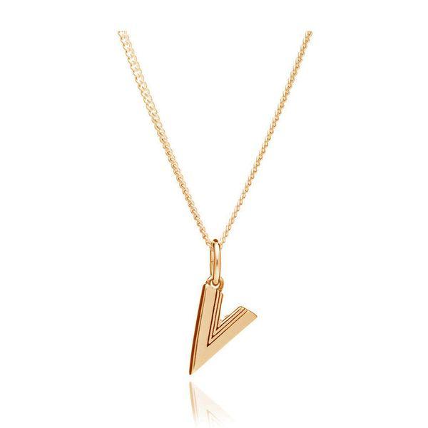 Rachel Jackson This Is Me V Alphabet Necklace - Gold