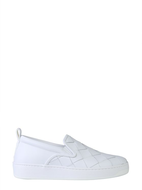 Bottega Veneta Dodger Intrecciato Leather Slip-on Sneakers In White