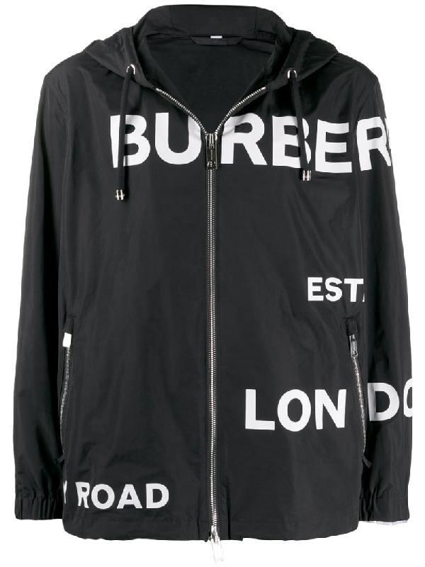 Burberry Horseferry Print Lightweight Hooded Jacket In Black