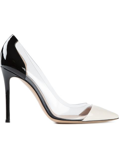 Gianvito Rossi 100Mm Plexi & Patent Leather Pumps, Off White/Black In Silver