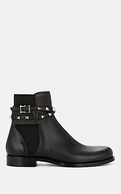 Valentino Chelsea Boots Beatle Strap Calfskin Rivets Black
