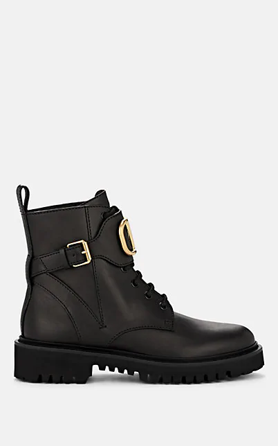 Valentino Logo-Embellished Leather Combat Boots In Black