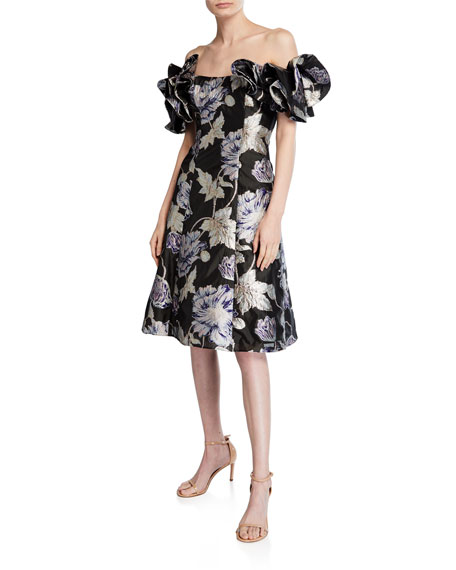 Aidan Mattox Off-The-Shoulder Floral Jacquard Ruffle-Sleeve Cocktail Dress In Dark Purple