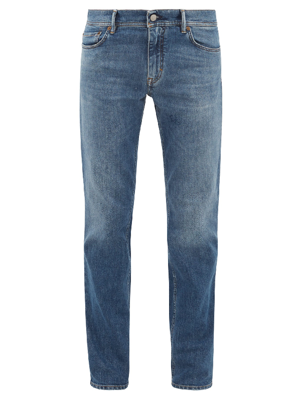 Acne Studios North Slim-leg Cotton-blend Jeans In Mid Blue