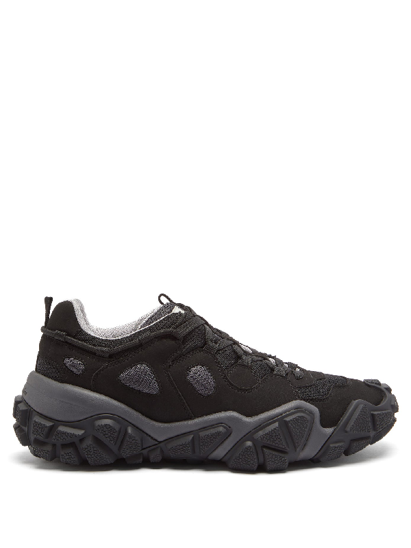 Acne Studios Boltzer Distressed Rubber-trimmed Suede And Mesh Sneakers In Anthrblk