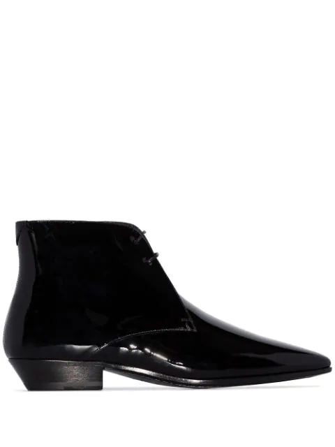 Saint Laurent Jonas 25 Black Patent Leather Ankle Boots