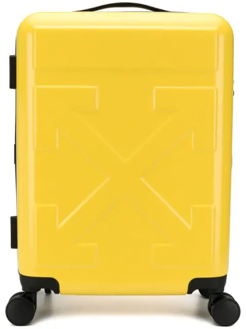 Off-white Arrow Hard Side Trolley Wheeled Suitcase In Yellow