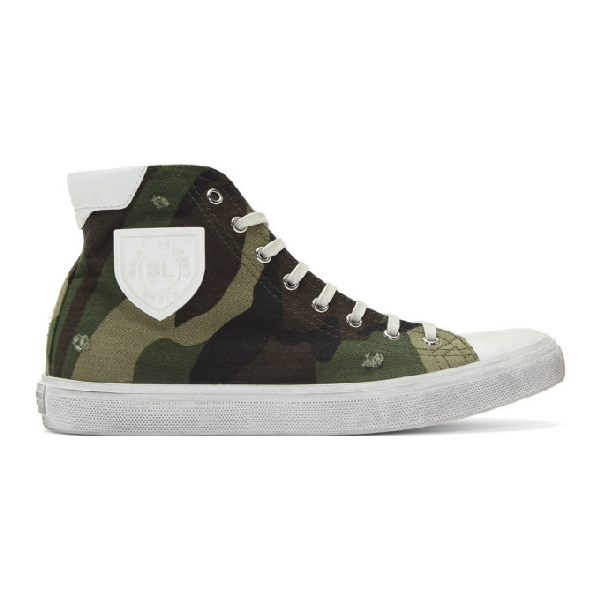 Saint Laurent Bedford Sneakers In Camouflage-print Canvas In 2193 Kaki