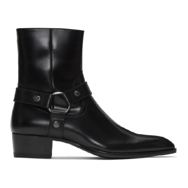 Saint Laurent 40Mm Wyatt Belted Leather Cropped Boots In 1000 Black