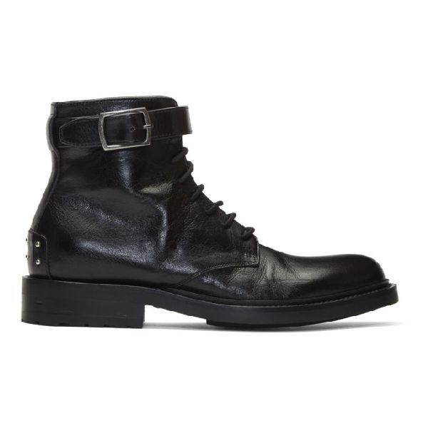 Saint Laurent Army Stud Detailed Boots - 黑色 In 1000 Black