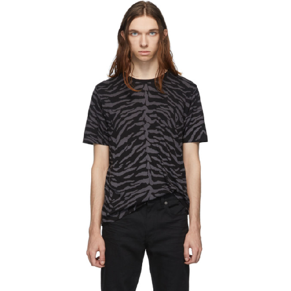 Saint Laurent Zebra-Print Cotton-Jersey T-Shirt In 1003 Noir/Gris Anthracite