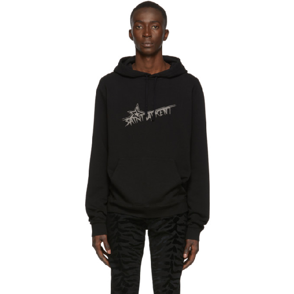 Saint Laurent Men's Star Logo Hoodie Sweatshirt W/ Kangaroo Pocket In Black