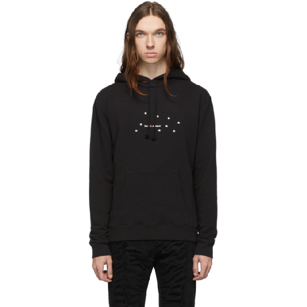 Saint Laurent Men's Stars Logo Pullover Hoodie W/ Kangaroo Pocket In 1081 Blksil