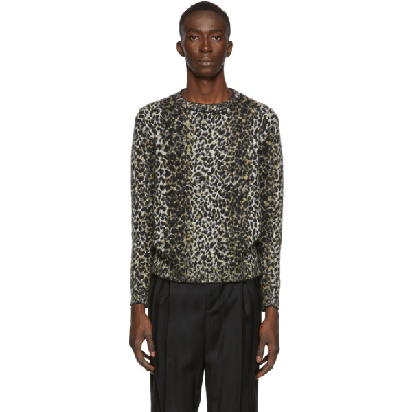 Saint Laurent Wool Sweater With An Allover Leopard Jacquard In 9794 Beige Noir Marron