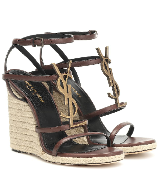 Saint Laurent Logo-embellished Leather Espadrille Wedge Sandals In Brown