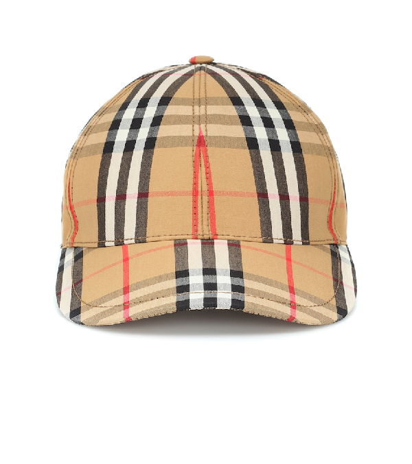 Burberry Checked Cotton-Canvas Baseball Cap In Camel