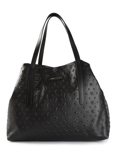 Jimmy Choo Pimlico Black Grained Leather Tote Bag With Embossed Stars
