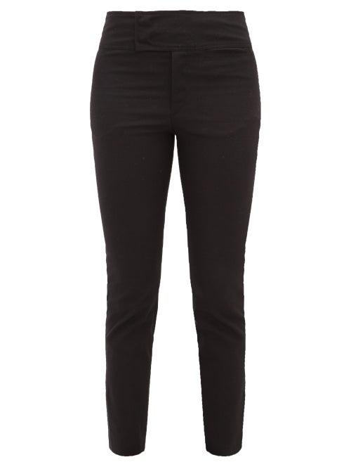 Isabel Marant Ovida Slit Cuff Cotton Blend Trousers In Black