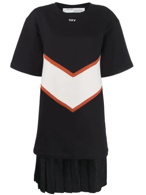 Off-White 对比拼接T恤式连衣裙 - 黑色 In 1001 Black White